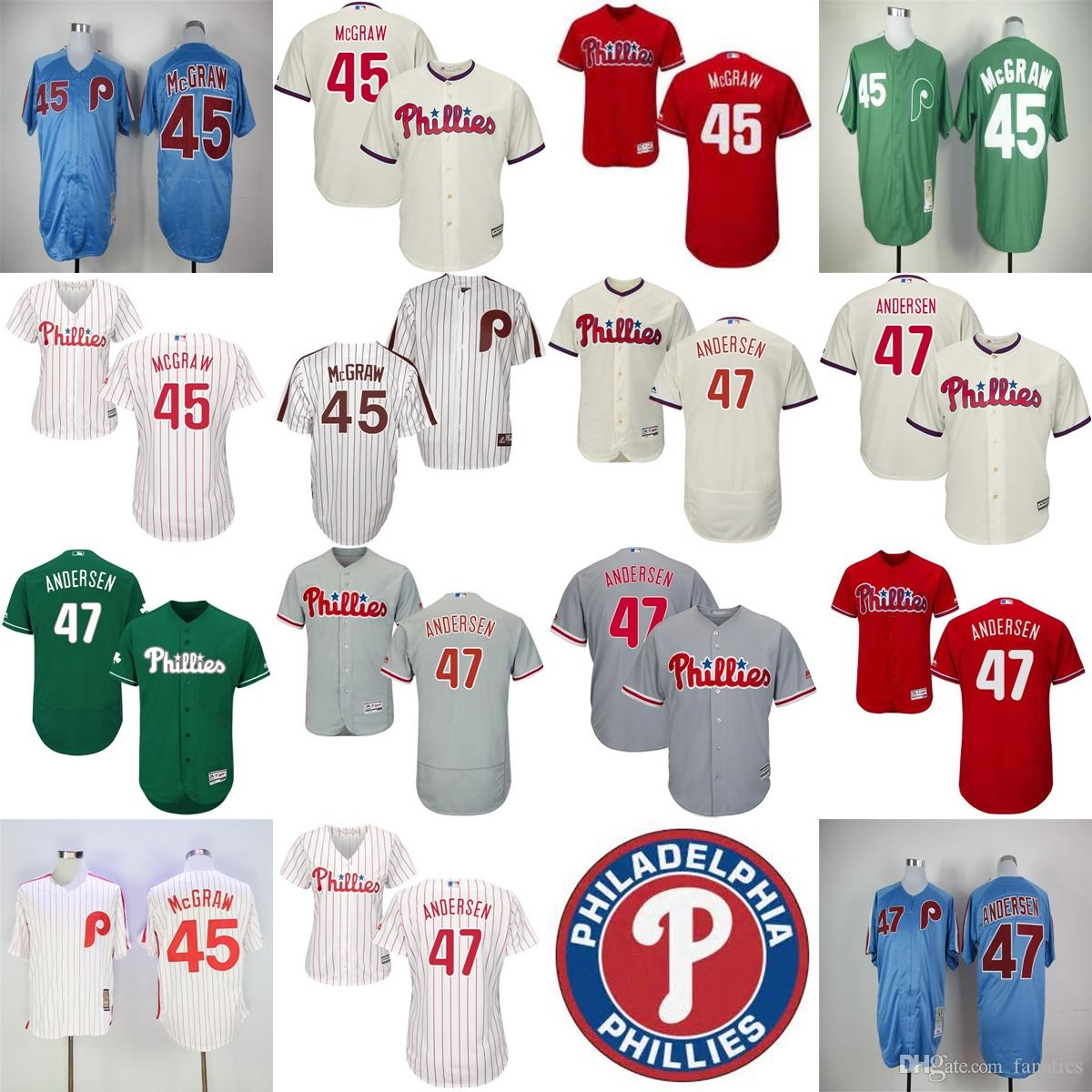 7815ef2c004 ... Baseball Jerseys White Grey 2017 Mens Womens Kids Philadelphia Phillies  45 Tug McGraw 47 Larry Andersen White Grey Beige Blue ...