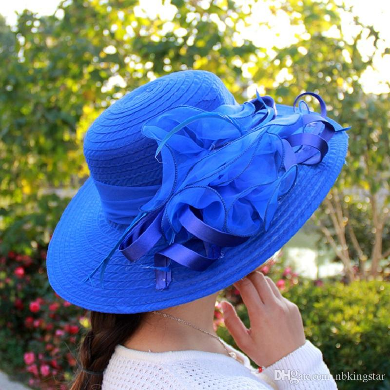 f51484d1c79 Fashion Women Mesh Kentucky Derby Church Hat With Floral Summer Wide Brim  Cap Wedding Party Hats Beach Sun Protection Caps Kentucky Church Hat Mesh  Wedding ...