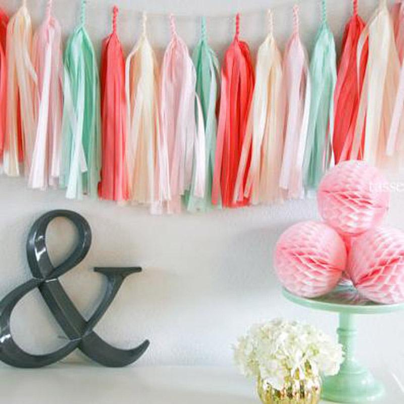 Wedding Decoration Tissue Paper Flowers Tassels Garland Ribbon Balloons Birthday Curtain Marriage Car Party Supplies