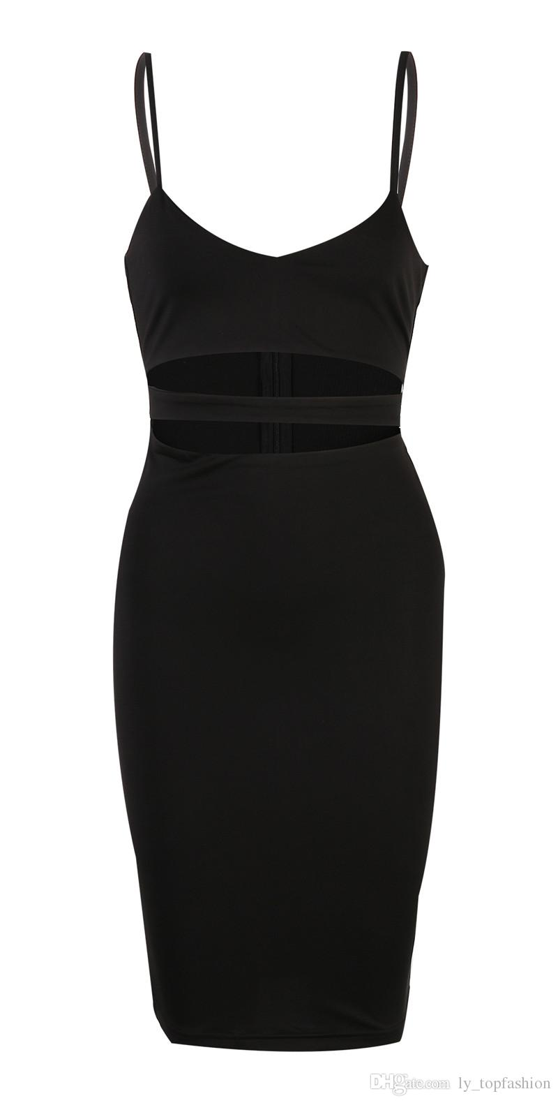 2020 Seksi Elbise Kulübü Wear 2016 Kadınlar vestidos Yaz Kolsuz BODYCON Elbise Pamuk Beyaz Siyah Midi Kalem Bandaj Parti Elbise