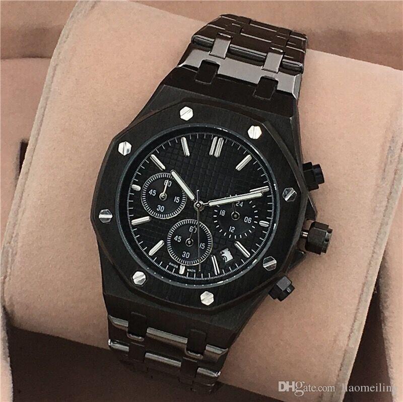 Alle Subdials Arbeiten AAA Mens oder Womenes Uhren Stahl Quarz Armbanduhren Stoppuhr Luxus-Uhr Top-Marke Relogies für Männer Uhren Bestes Geschenk
