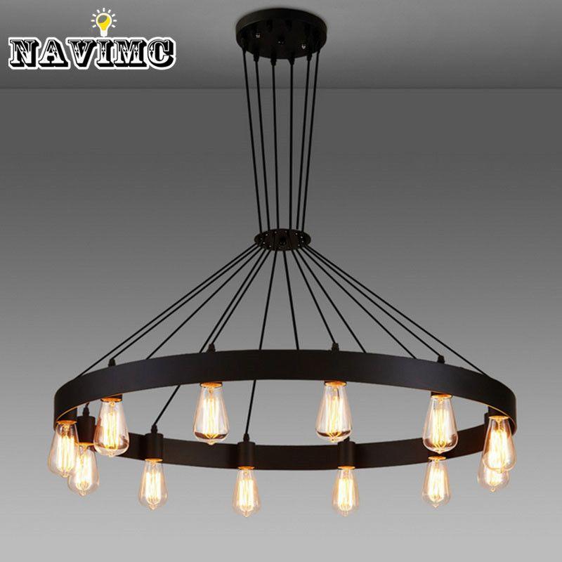 Industrial american loft vintage warehouse black iron pendant lights lamp for dining room restaurant decoration black lighting hanging lighting fixtures