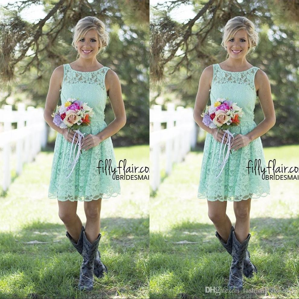 Mint Green Short Lace Brautjungfer Kleider Sleeveless Günstige Country Style Brautjungfern Kleid Prom Party Kleider für Hochzeiten