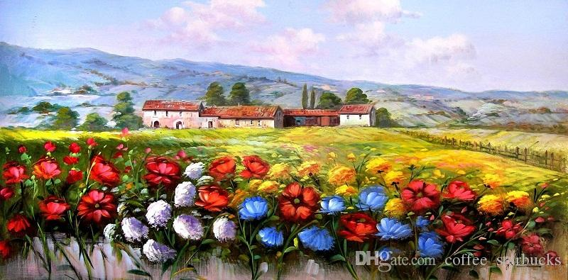 2018 Framed Italian Art Oil Painting Landscape Tuscan Country ...