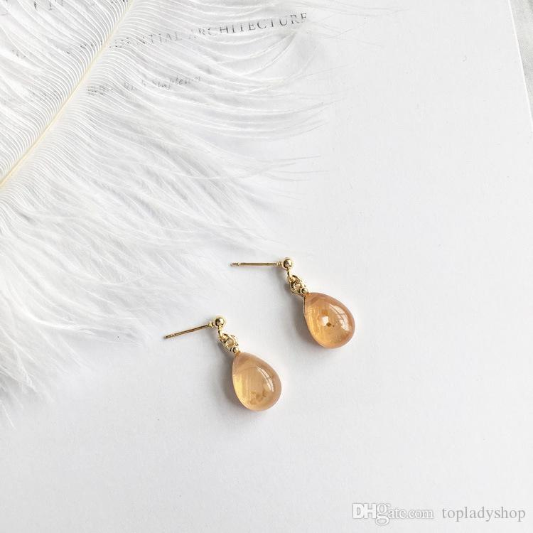 Personality simple retro amber water drops gem oval sequins embellishment earrings wholesale