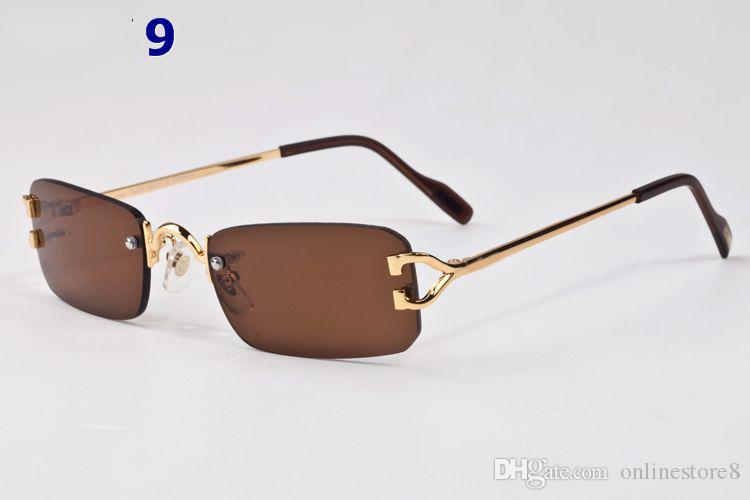 2017 France Marque Designer Lunettes de soleil d'or d'argent Plate alliage Cadres lunettes de mode Rimless Buffalo brun clair objectif pour les hommes femmes