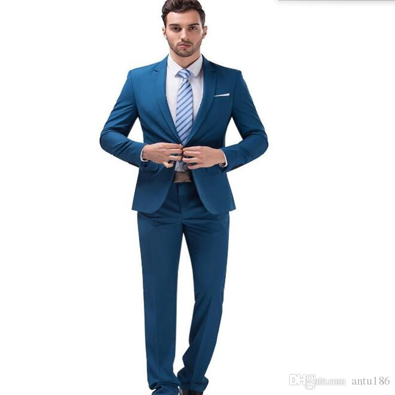 7a74ea9a0b Latest style men suits blue men wedding suit tuxedos solid color one button  groom best man dress suits(jacket+pants)