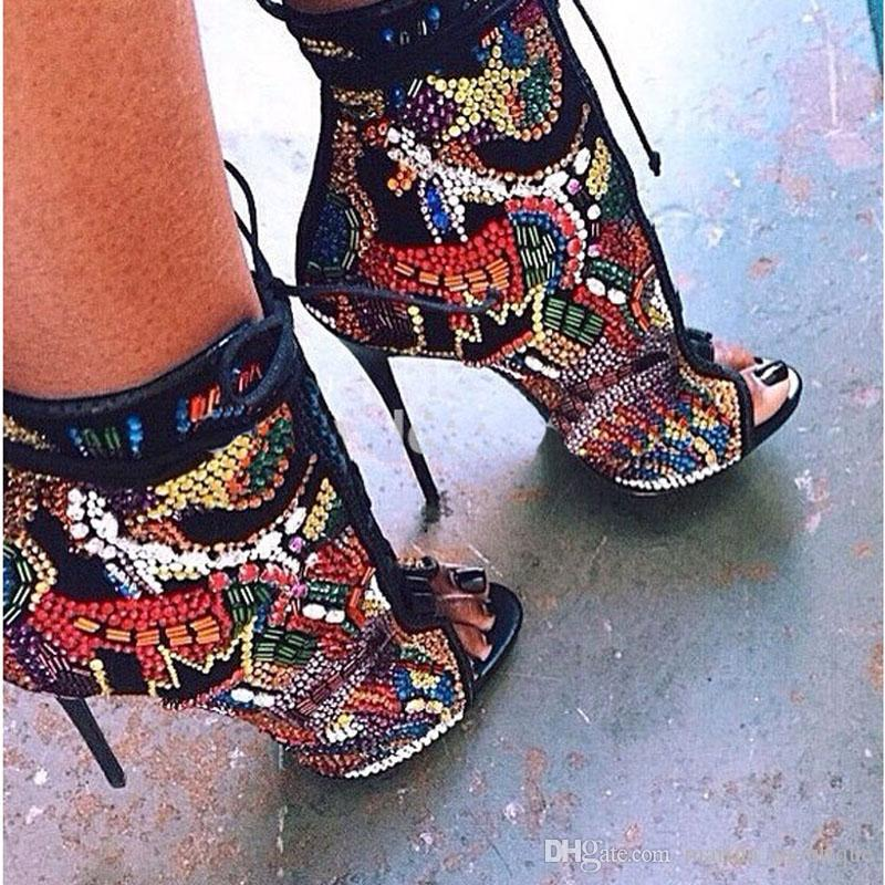 Tacchi alti Sandali estivi Stivaletti comici rivestiti in cristallo Stivaletti multicolor Diamond Sexy Ladies