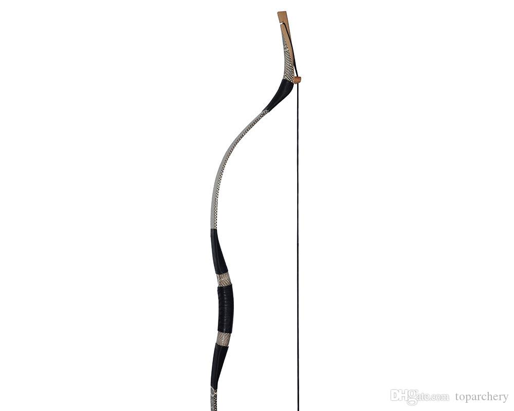 Pure Handmade Hunting Longbow Archery Recurve Bow White Snake-skin 30-70LBS With String Mats Left Right Hand