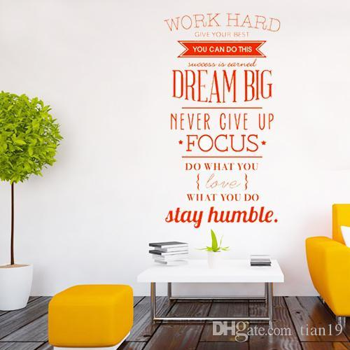 S5q Work Hard English Proverbs Wall Sticker Office Home Decoration ...