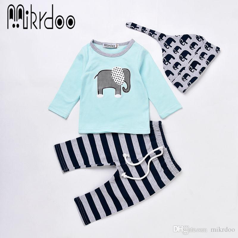 Mikrdoo Fashion Boy Girl Clothes Infant Baby Toddler Outfits Kids Elephant Logo Printed Sky Blue Tshirt Striped Pants Hat 3PCS Clothing Suit