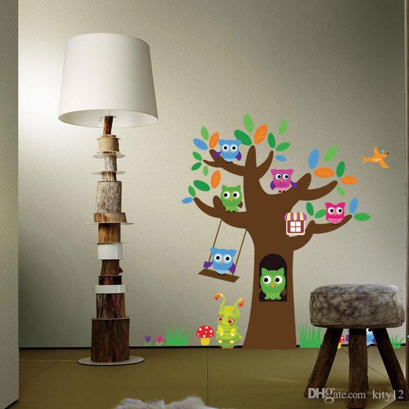 Tree Animal Cartoon Owl Wall Stickers For Kids Rooms Boys Girls Children Bedroom Home Decor