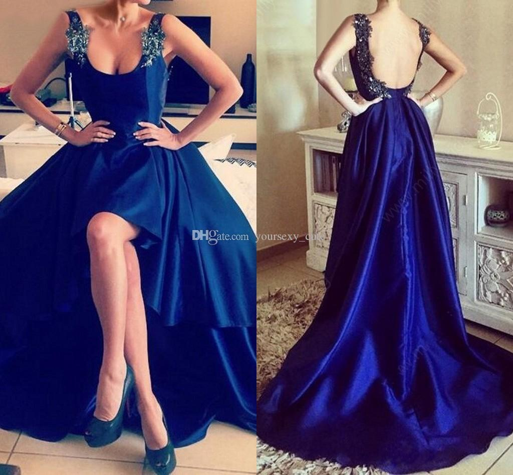 6ecf847324b Dark Navy High Low Prom Dresses Square Neck Sleeveless Appliques Beaded  Satin Backless Royal Blue Party Dresses Women Formal Evening Gowns Backless  Prom ...
