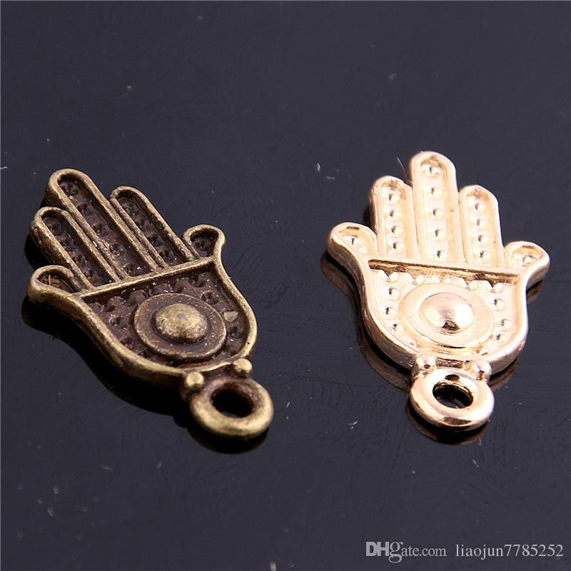 Süße Bell Mindestbestellmenge Charm Anhänger Hamsa Hand / Palm Drei Farbe 12 * 20mm Großhandel Schmuck Charms D6113-1