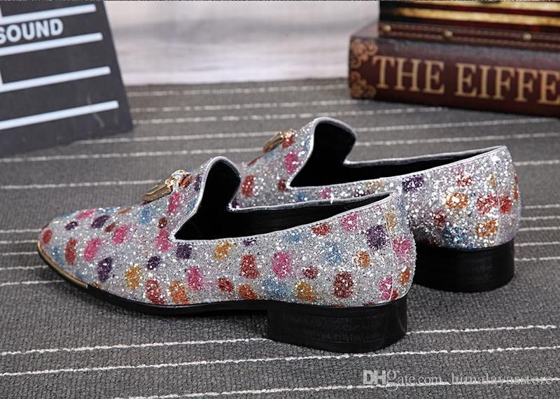 New fashion sequin men shoes with metal tassel men wedding party loafers men nightclub bar dress shoes men's flats dance shoes
