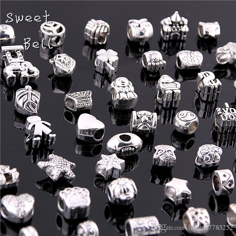 Doce Sino 50 Pçs / lote 925 de Prata Big Hole Beads Fit Antique Silver Metal Liga de zinco Mista DIY Contas Charme para Pulseiras D0955
