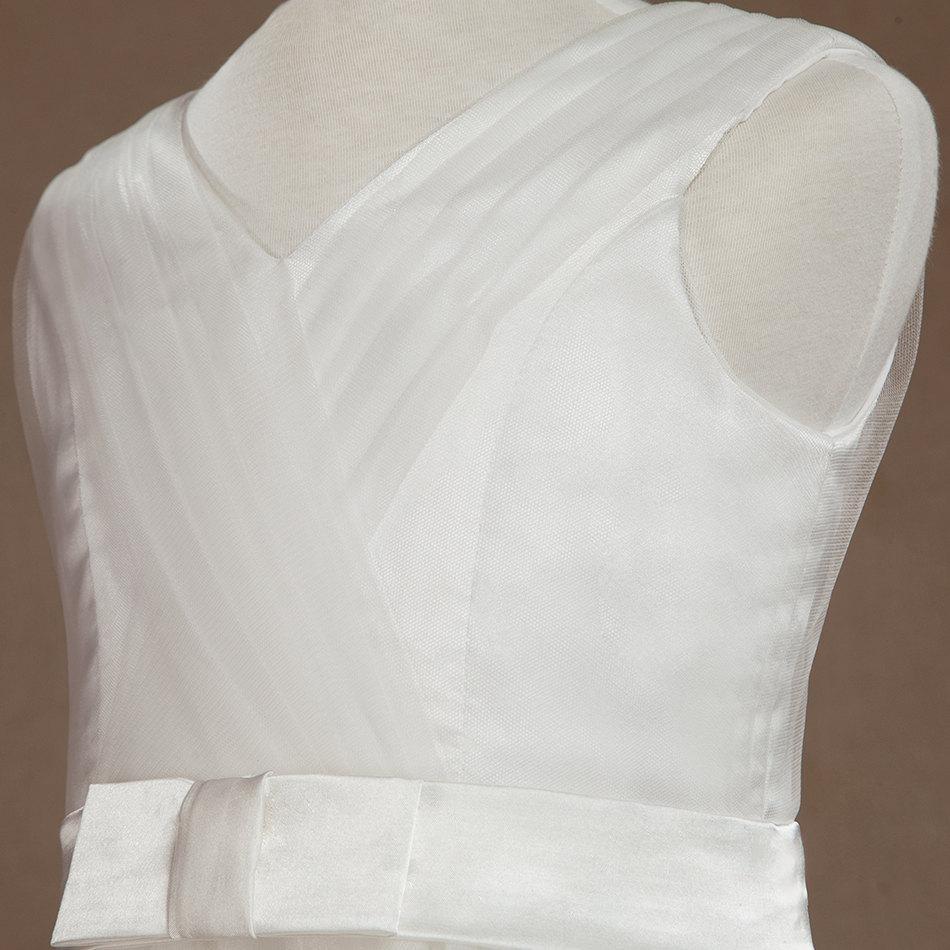 Beautiful White Flower Girl Dress Tulle V-neck Junior Dress A-line Flower Straps Dress with Belt