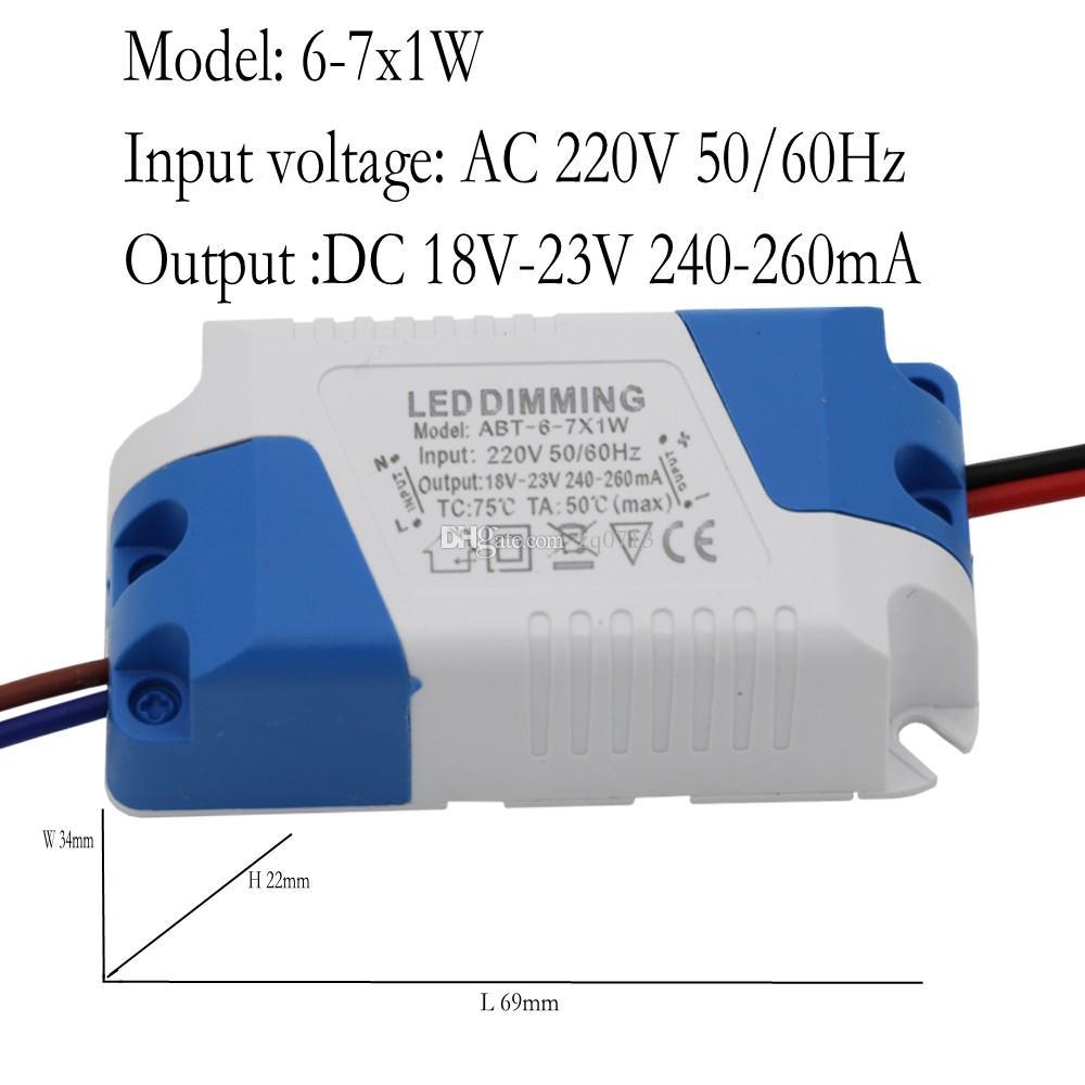 Диммер драйвер 6-7x1W постоянного тока 18-23В 240-260 ма 6 Вт 7 Вт постоянного тока переменного тока 110 / 220В для светодиодной лампы Dimmable