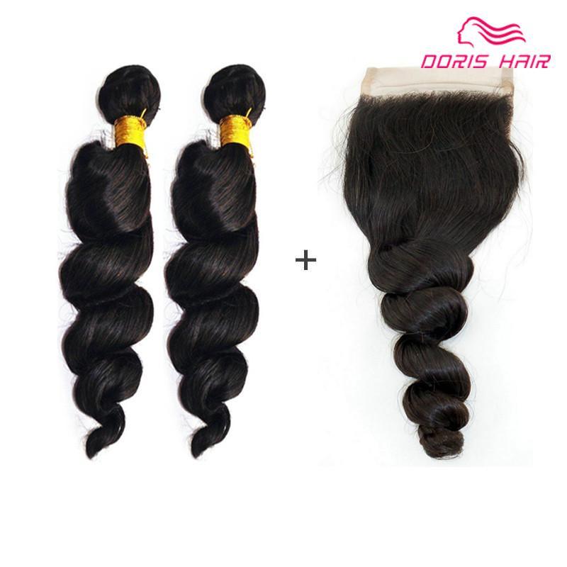Meilleure qualité LOOSE WAVE dentelle fermeture avec cheveux trame tissage Dyeable brésilien indien remy cheveux humains bundles Doris cheveux