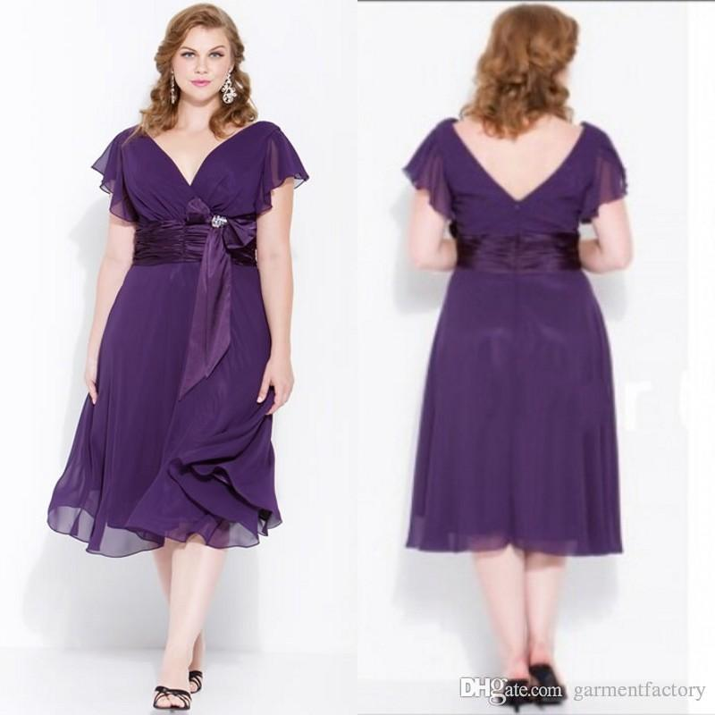 Plus Size Bridesmaid Dresses Classic V Neck A Line Tea Length Capped ...