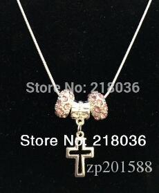 Antiques Silvers Filigree Cross Crucifix Charm &Pink Crystal Copper Snake Chain Necklace Pendants For Womens DIY Jewelry N2092