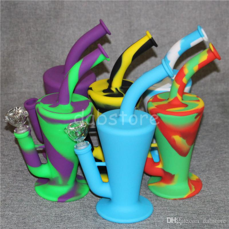 Hot Sale Silicon Rigs Waterpipe Silicone Hookah Bongs Silicon Dab Rigs Cool Cone Type DHL