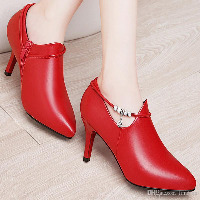 With Box New leather Women Dress Shoes Heel Pointed Toes Ankle High Heel Classic women high heel shoes Chains female zip Shoes Size 34-40 16