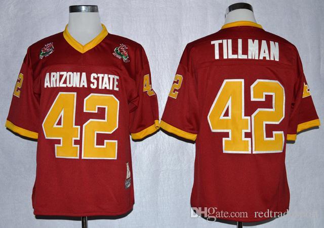 1997 Rose Bowl-Arizona-Staat Sun Devis ASU Pat Tillman 42 College-Fußball-Trikots Maroon genähte Hemden Mens