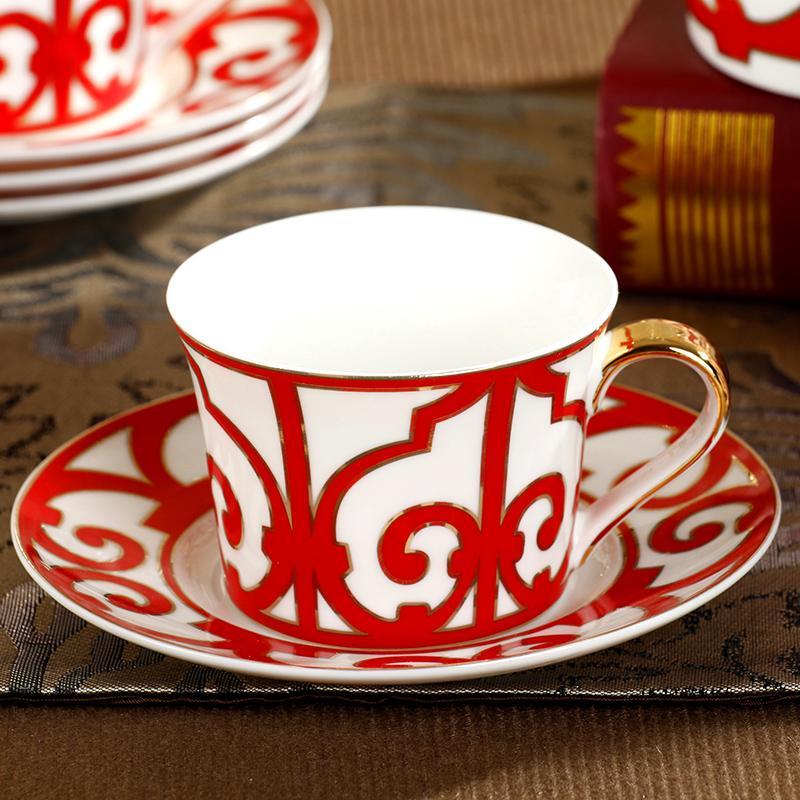 Wholesale- ceram mug fashion england coffee cup saucer set cup plate bone  china ceramic high quality home leisure use