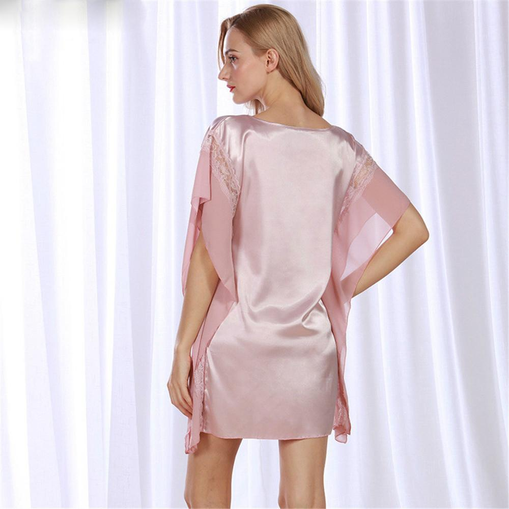 Sommer Sexy Seide Nachthemd Sleep Women Sleepwear Kurzarm Lounge Satin Seide Nachtwäsche Frau Dres