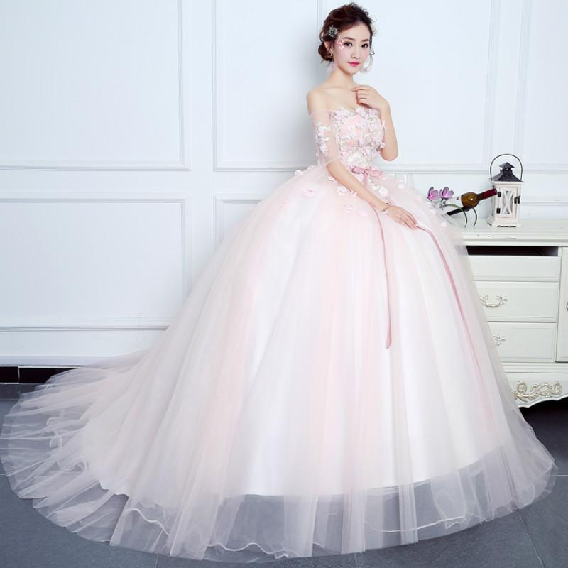 Prom Dress 2017 Sweet Pink Tulle Boat Neck Short Sleeves Lace Up ...
