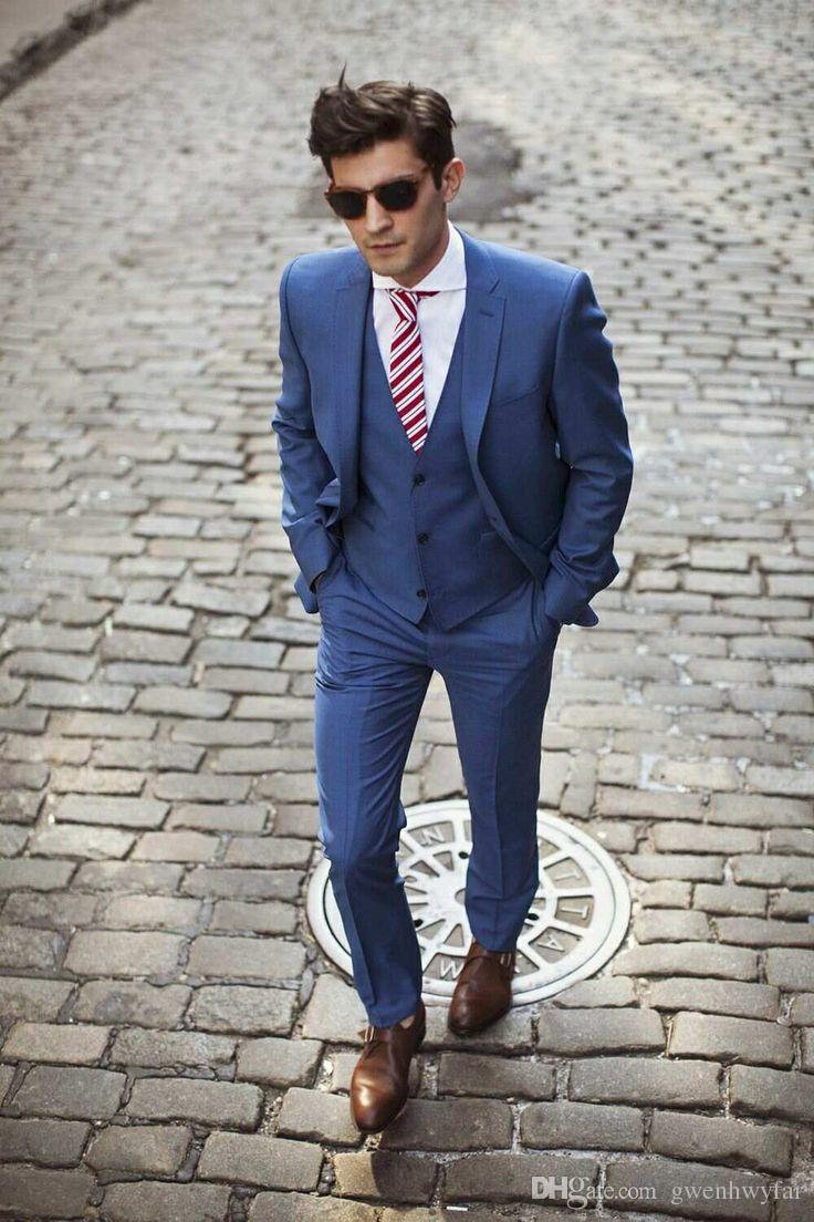 Handsome 2017 Dark Blue Custom Made Trajes de Boda para Hombres Novios Tuxedos Padrinos de Boda Para Hombre Trajes de Boda Trajes de Tres Piezas Chaqueta + Pantalones + Chaleco