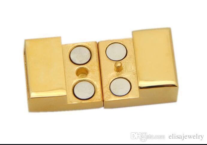 Fermoir magnétique en acier inoxydable, rectangle, plus de couleurs à choisir, Trou: Environ 12 * 3.5mm, Vendu par