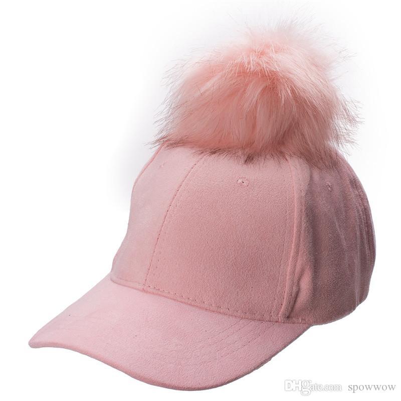 Neue stilvolle einstellbare Damen Unisex Pelz Pom Pom Wildleder Baseballmütze Hip Hop Mädchen Hut A383