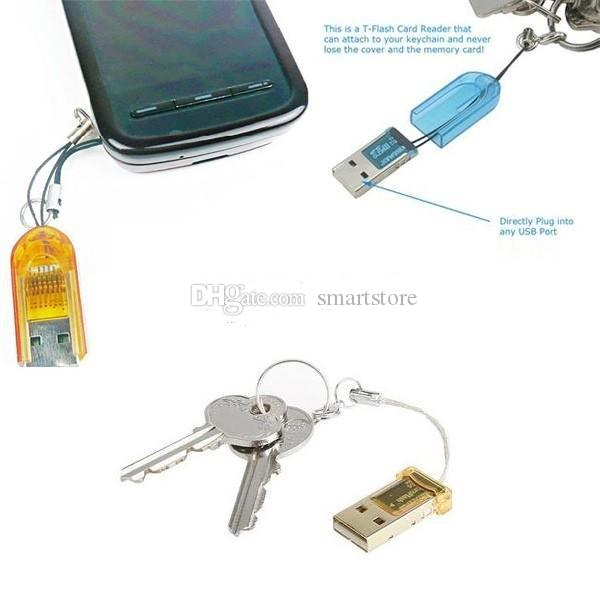 500 pz / lotto Micro Micro TF / T-Flash TF Portable Slot di segnale USB 2.0 Keychain Memory Card Spedizione gratuita