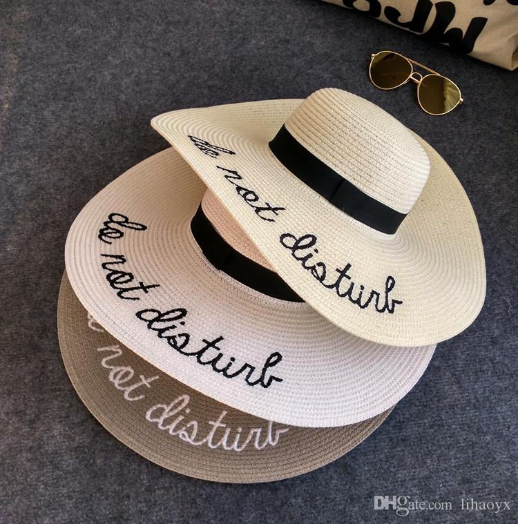 263211ff7ecea Hot Sale 7-color Fashion Brand Do Not Disturb Wide Brim Floppy Foldable Sun  Hat Summer Hat for Women Beach Straw Hat Ladies Chapeu Panama Fe Straw Hat  ...