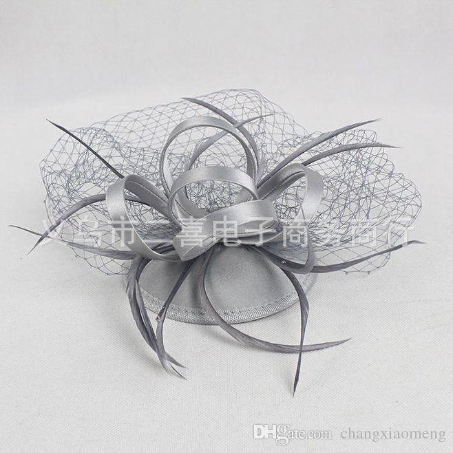 Bridal Veil Accessories Feathers Hat Clip Accessories For Christmas Party Wedding Dresses Hair Wear Elegant sisal cone white