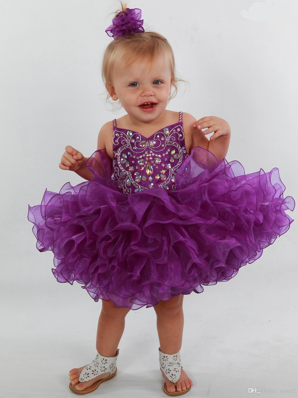 Purple Girls Pageant Dresses 2017 with Spaghetti Straps and Tiered Skirt Shining Organza Cupcake Little Rosie Pageant Dress Custom Made