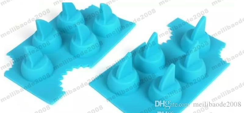 Shark Fin Shape Ice Mold Cube Tray Silicone Ice Mold with Making 5 Fins 1 Time for Summer Funny Drinking MYY