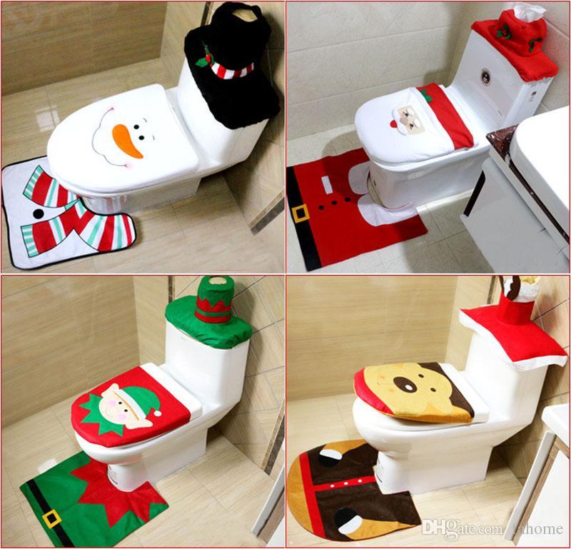 Copri Wc Babbo Natale.3 Pezzi Set Natalizio Wc Cuscino Per Wc Kit Igienici Ornamento Di Natale Babbo Natale Tappeto Bagno Set Regalo Di Natale