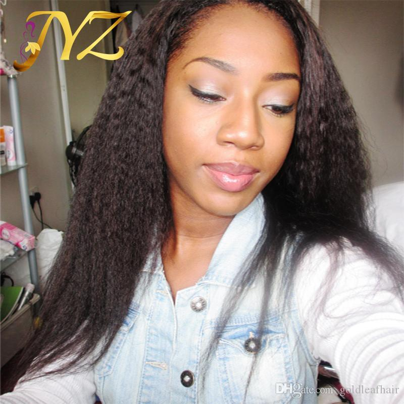 Lace front wigs kinky straight virgin human hair wigs full lace wigs with baby hair Brazilian Peruvian Malaysian virgin hair bleached knots