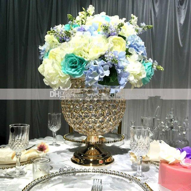 new gold iron crystal votive candle holder flower stand for wedding table centerpieces