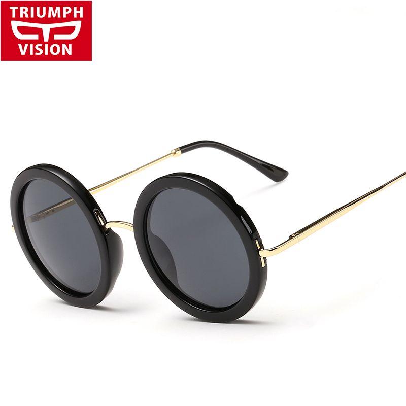 Wholesale Round 2017 Fashion Female Women Ladies Vision Sunglasses Sun Eyewear Glasses Brand Designer Retro Black Triumph Shades Vintage htQrCds
