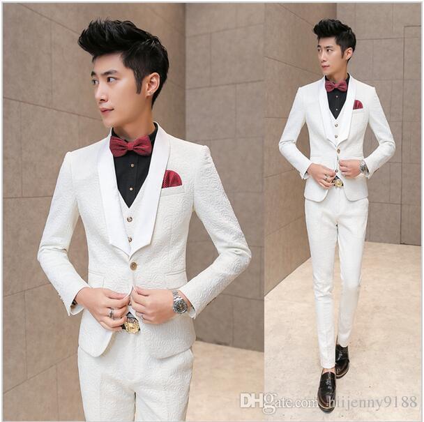 White Wedding Tuxedos For Men 2016 Brand Pressing Rose Print Elegant ...