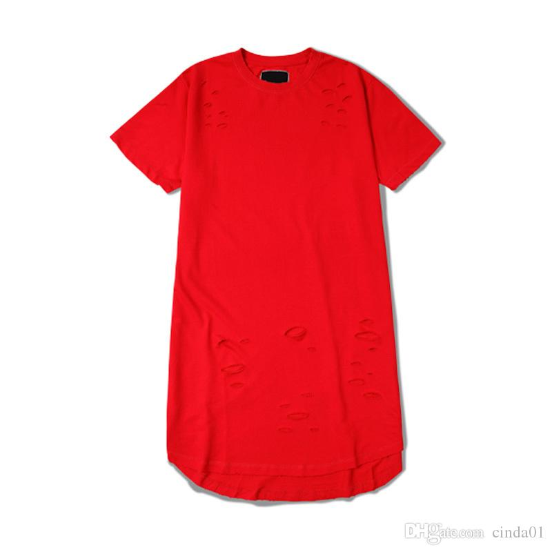 Estendido camisetas hip hop Moda Buraco Streetwear Kanye West manga curta camisas longas t roupas legal swag