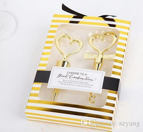 DHL =Gold Cheers to a Great Combination Wine Set Heart Wine Stopper Corkscrew Wedding Favors Party Gifts