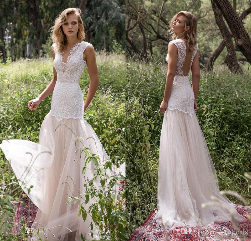 Limor Rosen 2018 Country Wedding Dresses Illusion Bodice Jewel Cap Sleeve Appliques Court Train Vintage Garden Beach Boho Bridal Gowns