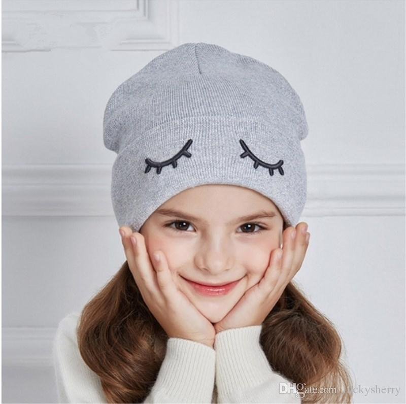 7c6acacb019 LUCKYFUR 2017 Children Winter Hats Cute Eye Knitted Boys Hat Girl Cotton  Ears Caps Children Thick Warm Skullies Beanies Boy Cap Caps Cap From  Luckysherry