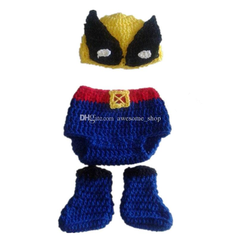 Super Cool Superhero Newborn Outfits,Handmade Crochet Baby Boy Girl Wolverine Hat,Diaper Cover and Boots Set,Infant Photography Props