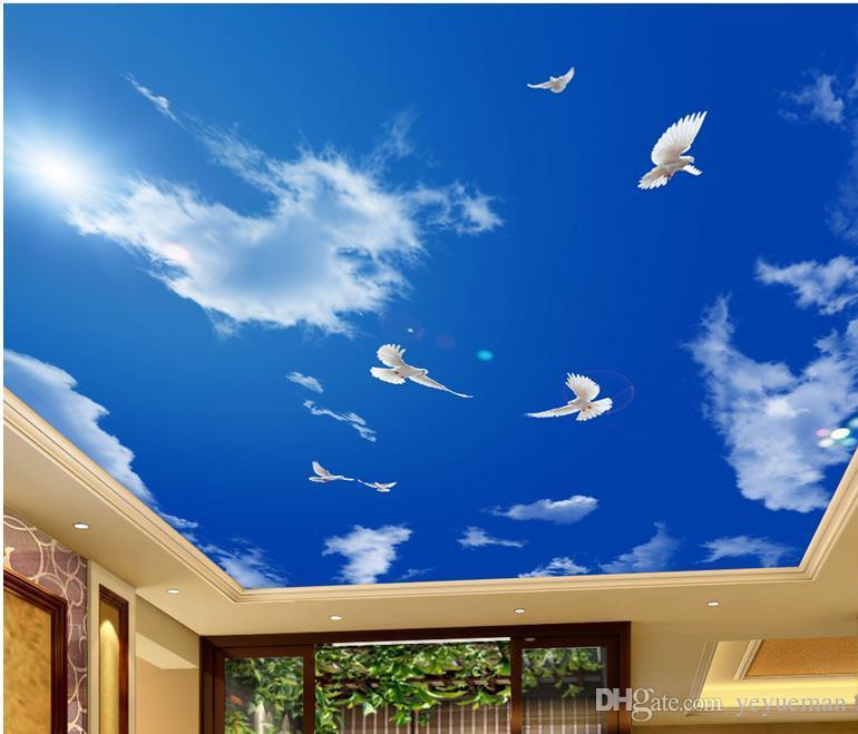 Индивидуальные стереоскопические 3D потолочные обои для спальни голубое небо белые облака голуби 3D потолок гостиная обои для потолков
